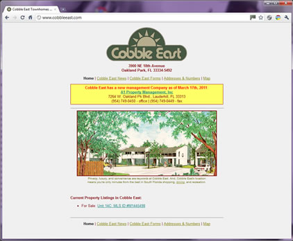 Cobble East Town Homes.com Screen