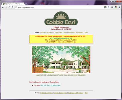 Cobble East Town Homes.com Screen